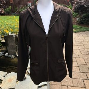 Zenergy chocolate brown hooded jacket by Chico's
